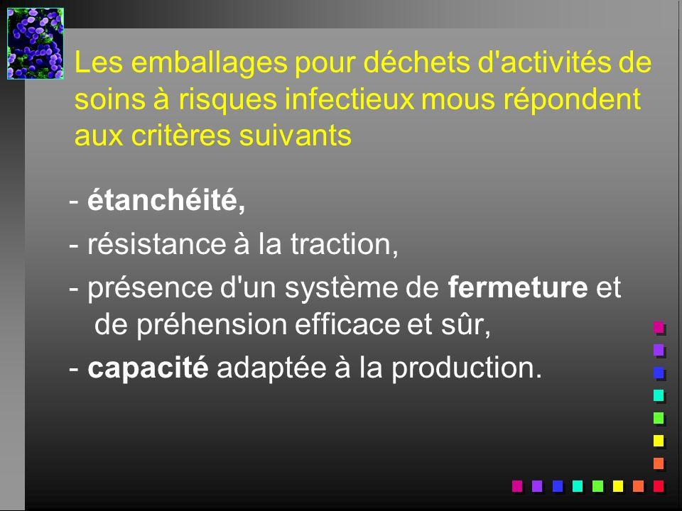 Les emballages pour déchets d'activités de soins à risques infectieux mous répondent aux critères suivants - étanchéité, - résistance à la traction, -