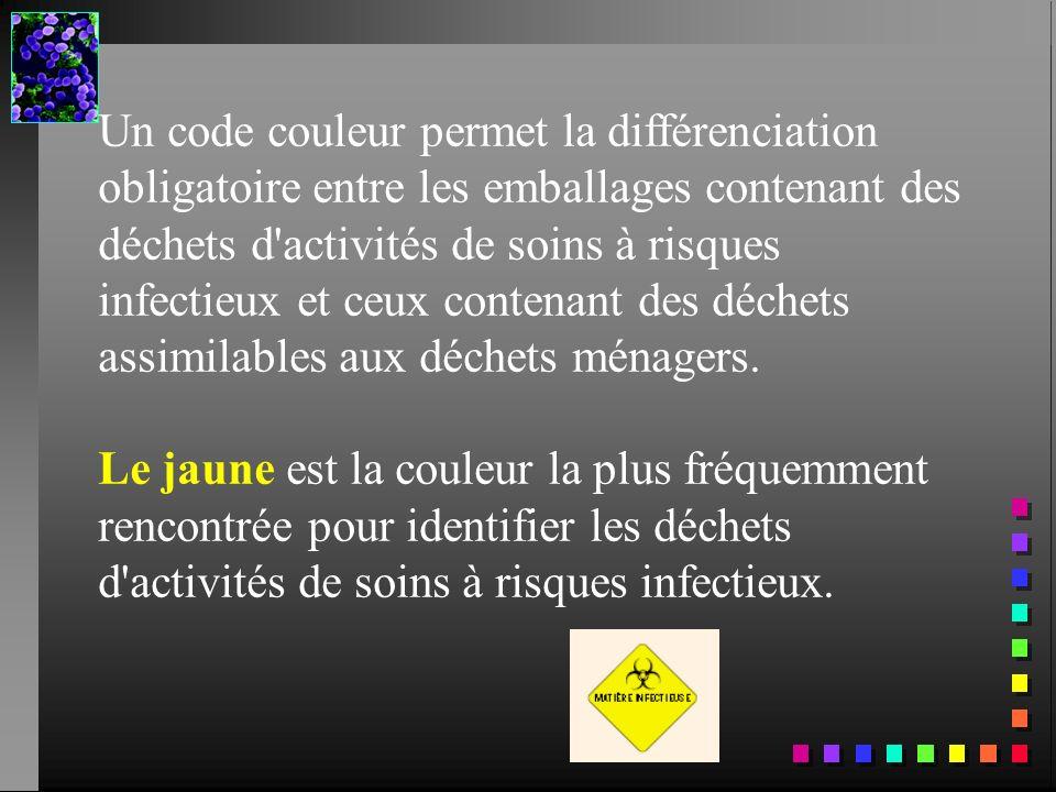 Un code couleur permet la différenciation obligatoire entre les emballages contenant des déchets d'activités de soins à risques infectieux et ceux con