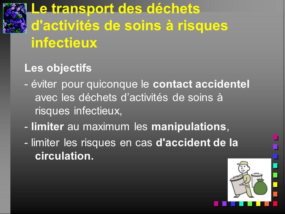 Le transport des déchets d'activités de soins à risques infectieux Les objectifs - éviter pour quiconque le contact accidentel avec les déchets dactiv