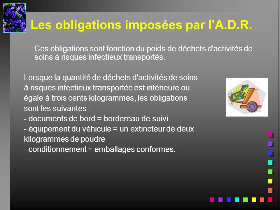 Les obligations imposées par l'A.D.R. Ces obligations sont fonction du poids de déchets d'activités de soins à risques infectieux transportés. Lorsque