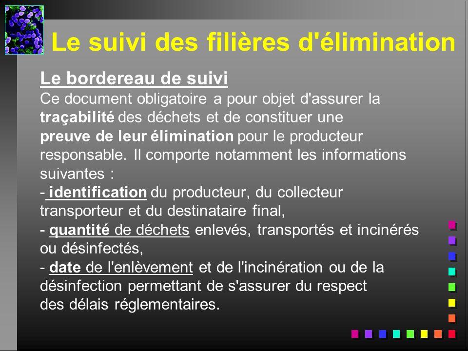 Le suivi des filières d'élimination Le bordereau de suivi Ce document obligatoire a pour objet d'assurer la traçabilité des déchets et de constituer u