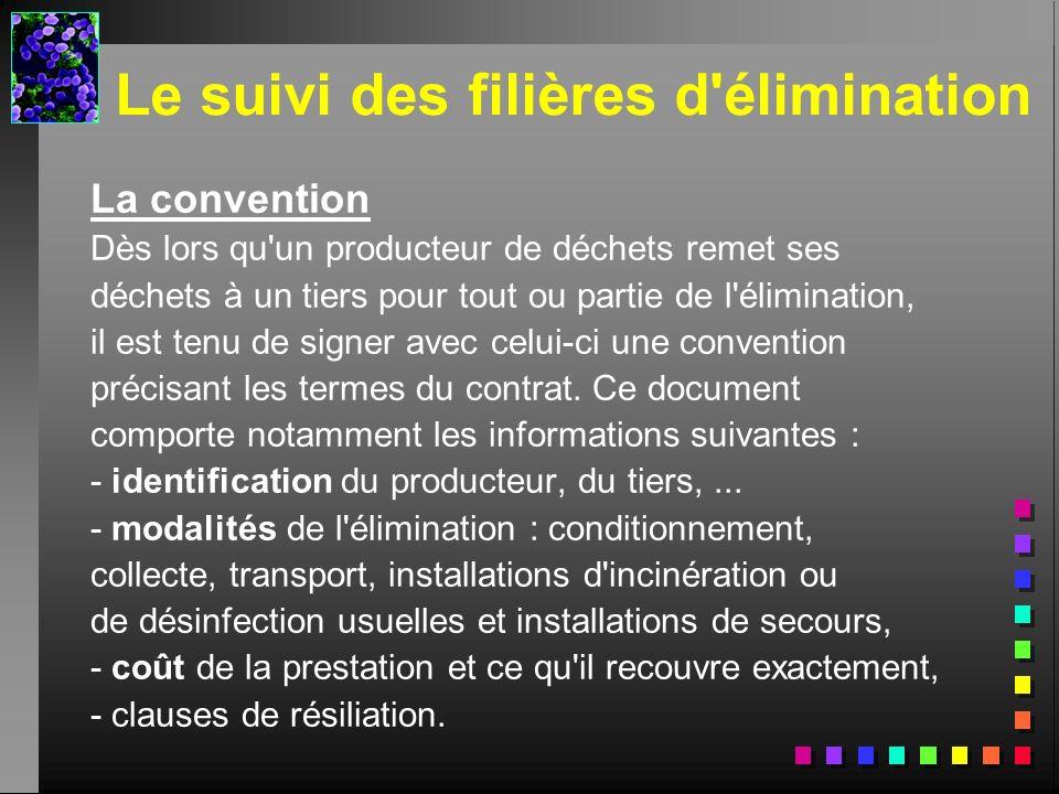 Le suivi des filières d'élimination La convention Dès lors qu'un producteur de déchets remet ses déchets à un tiers pour tout ou partie de l'éliminati