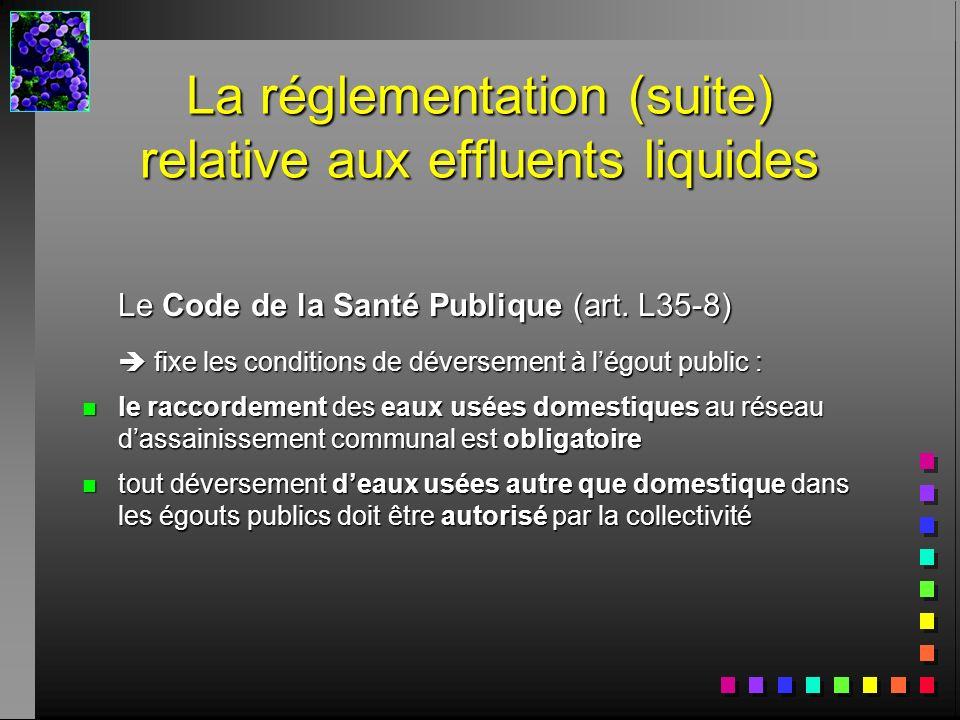 Le Code de la Santé Publique (art. L35-8) fixe les conditions de déversement à légout public : fixe les conditions de déversement à légout public : n