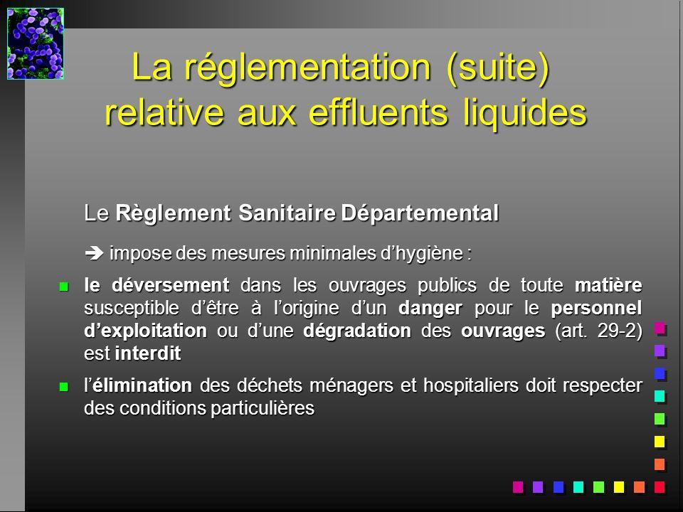 Le Règlement Sanitaire Départemental impose des mesures minimales dhygiène : impose des mesures minimales dhygiène : n le déversement dans les ouvrage