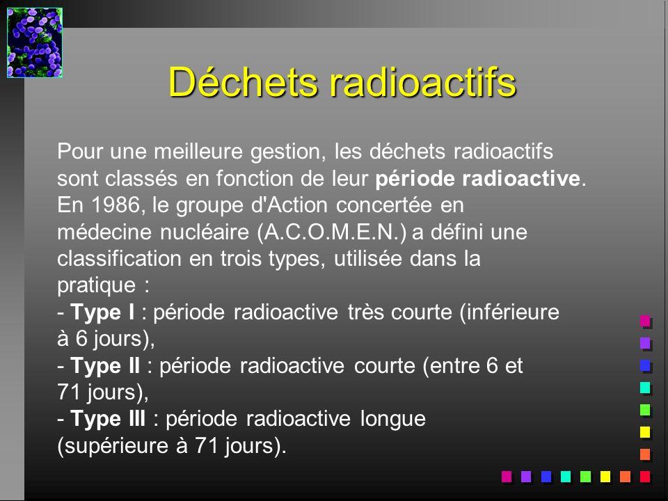 Déchets radioactifs Pour une meilleure gestion, les déchets radioactifs sont classés en fonction de leur période radioactive. En 1986, le groupe d'Act