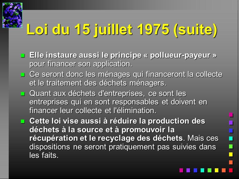 Loi du 15 juillet 1975 (suite) n Elle instaure aussi le principe « pollueur-payeur » pour financer son application. n Ce seront donc les ménages qui f