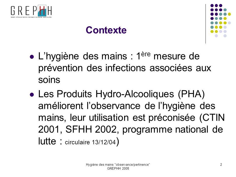 Hygiène des mains observance/pertinence GREPHH 2008 23 FICHE OBSERVANCE/PERTINENCE (2) Exemple 2 ème observation Pose v v x x x Manip dispo vasc x x x x xx x
