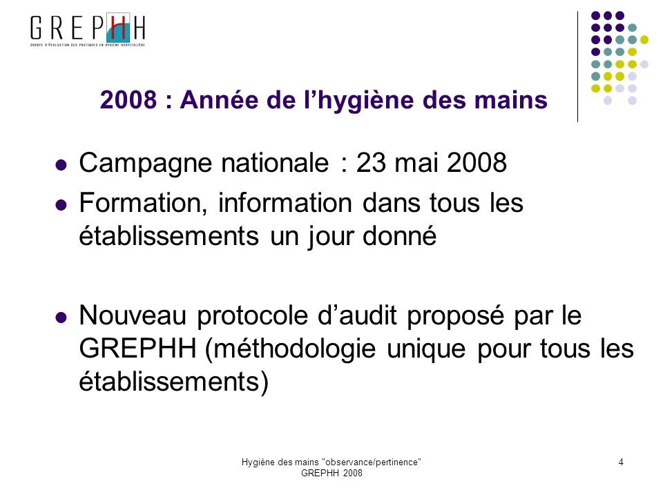 Hygiène des mains observance/pertinence GREPHH 2008 15