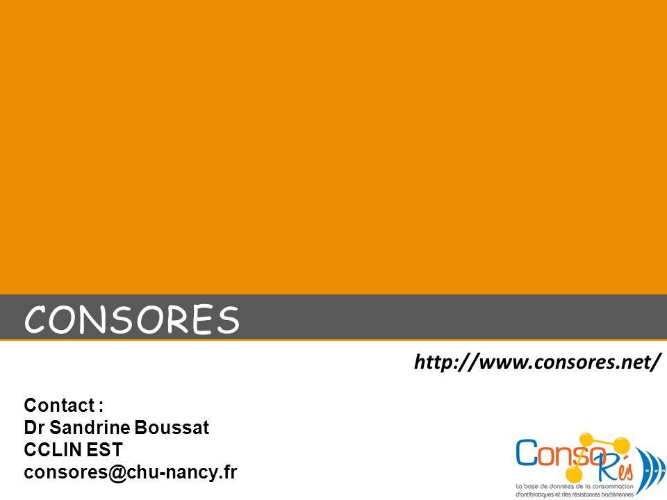 CONSORES Contact : Dr Sandrine Boussat CCLIN EST consores@chu-nancy.fr http://www.consores.net/
