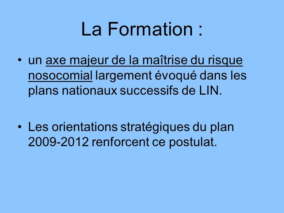 La Formation : un axe majeur de la maîtrise du risque nosocomial largement évoqué dans les plans nationaux successifs de LIN.