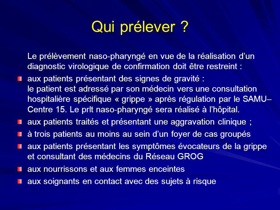 Qui prélever ? Le prélèvement naso-pharyngé en vue de la réalisation dun diagnostic virologique de confirmation doit être restreint : aux patients pré