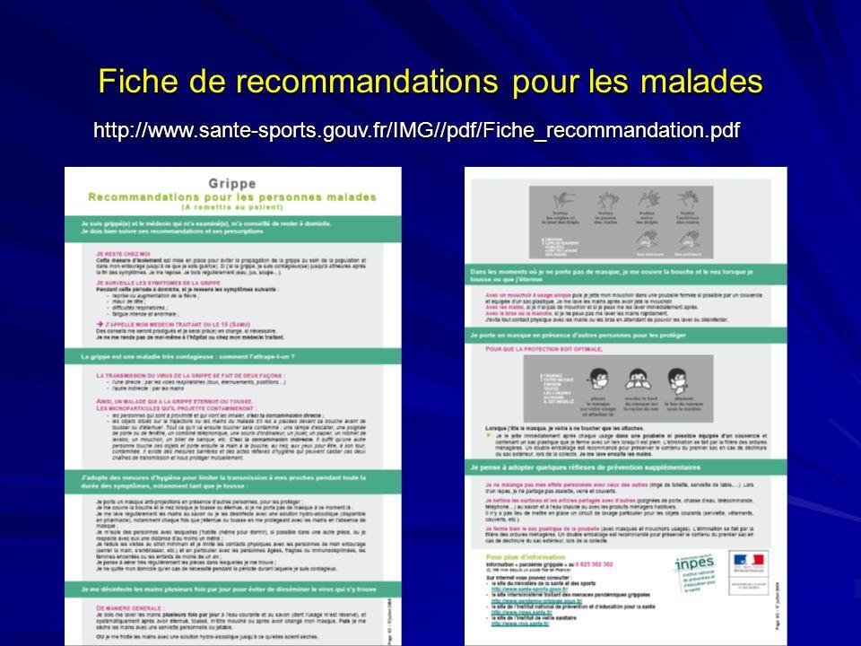 Fiche de recommandations pour les malades http://www.sante-sports.gouv.fr/IMG//pdf/Fiche_recommandation.pdf