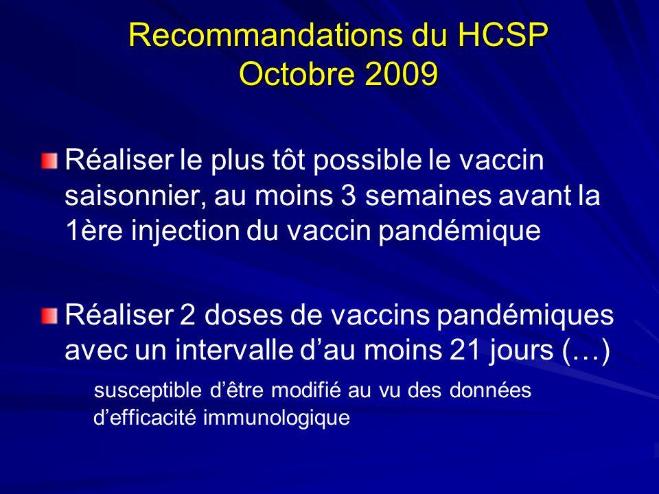 Recommandations du HCSP Octobre 2009 Réaliser le plus tôt possible le vaccin saisonnier, au moins 3 semaines avant la 1ère injection du vaccin pandémi