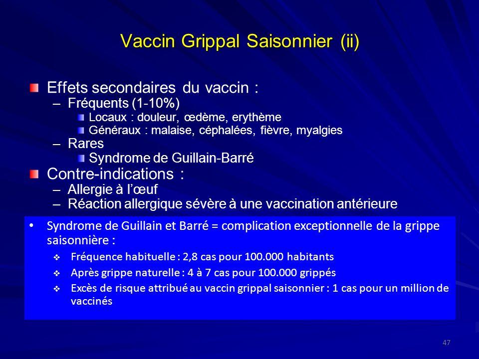 Vaccin Grippal Saisonnier (ii) Effets secondaires du vaccin : –Fréquents (1-10%) Locaux : douleur, œdème, erythème Généraux : malaise, céphalées, fièvre, myalgies –Rares Syndrome de Guillain-Barré Contre-indications : –Allergie à lœuf –Réaction allergique sévère à une vaccination antérieure Syndrome de Guillain et Barré = complication exceptionnelle de la grippe saisonnière : Fréquence habituelle : 2,8 cas pour 100.000 habitants Après grippe naturelle : 4 à 7 cas pour 100.000 grippés Excès de risque attribué au vaccin grippal saisonnier : 1 cas pour un million de vaccinés 47