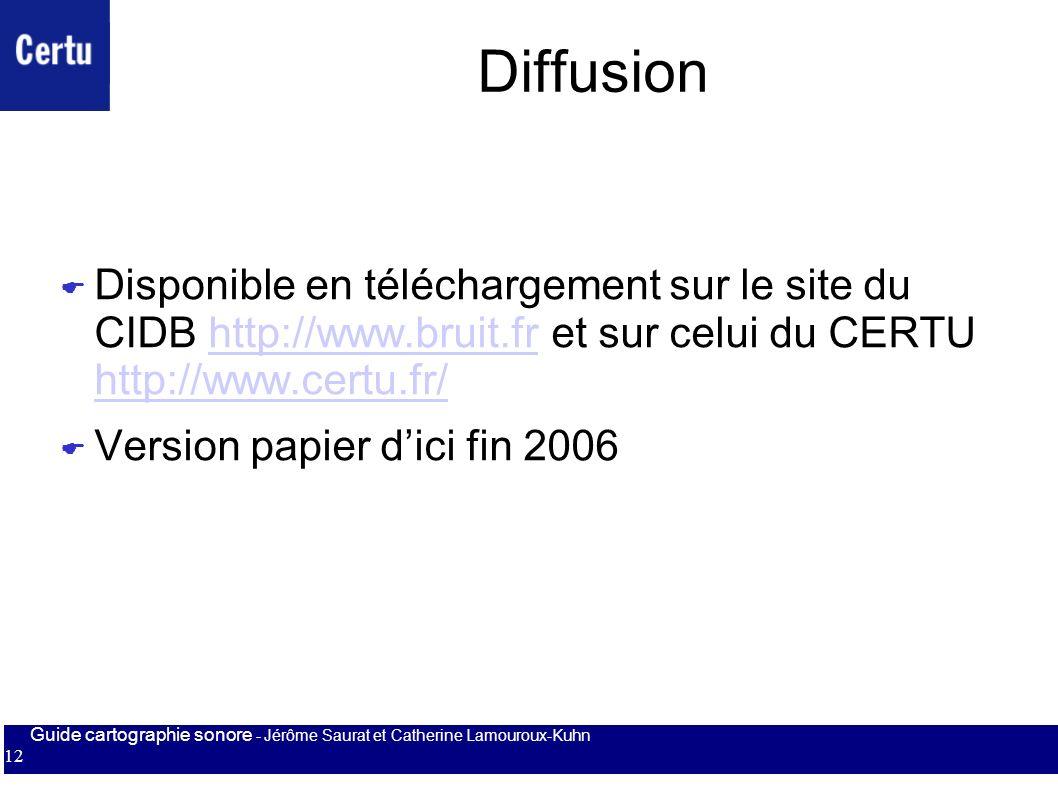 Guide cartographie sonore - Jérôme Saurat et Catherine Lamouroux-Kuhn 12 Diffusion Disponible en téléchargement sur le site du CIDB http://www.bruit.f
