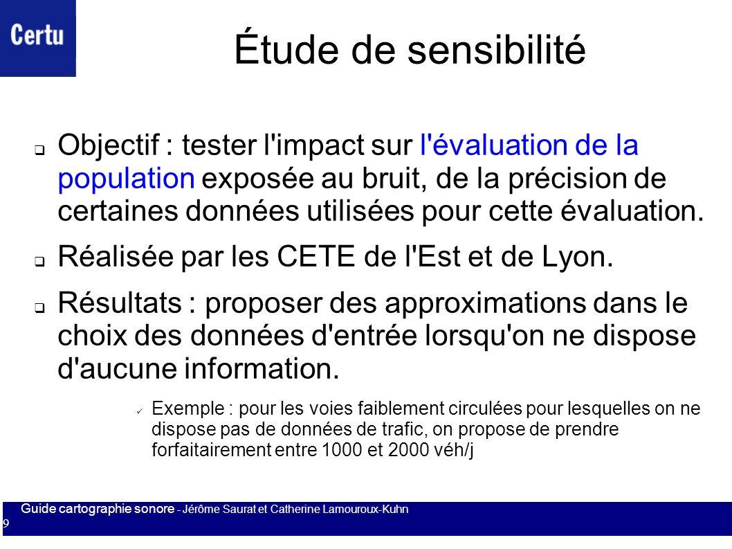Guide cartographie sonore - Jérôme Saurat et Catherine Lamouroux-Kuhn 9 Étude de sensibilité Objectif : tester l'impact sur l'évaluation de la populat