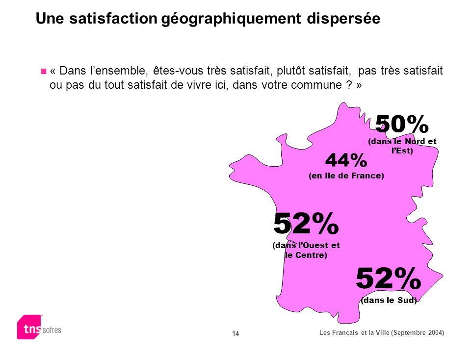 Les Français et la Ville (Septembre 2004) 14 Une satisfaction géographiquement dispersée « Dans lensemble, êtes-vous très satisfait, plutôt satisfait, pas très satisfait ou pas du tout satisfait de vivre ici, dans votre commune .
