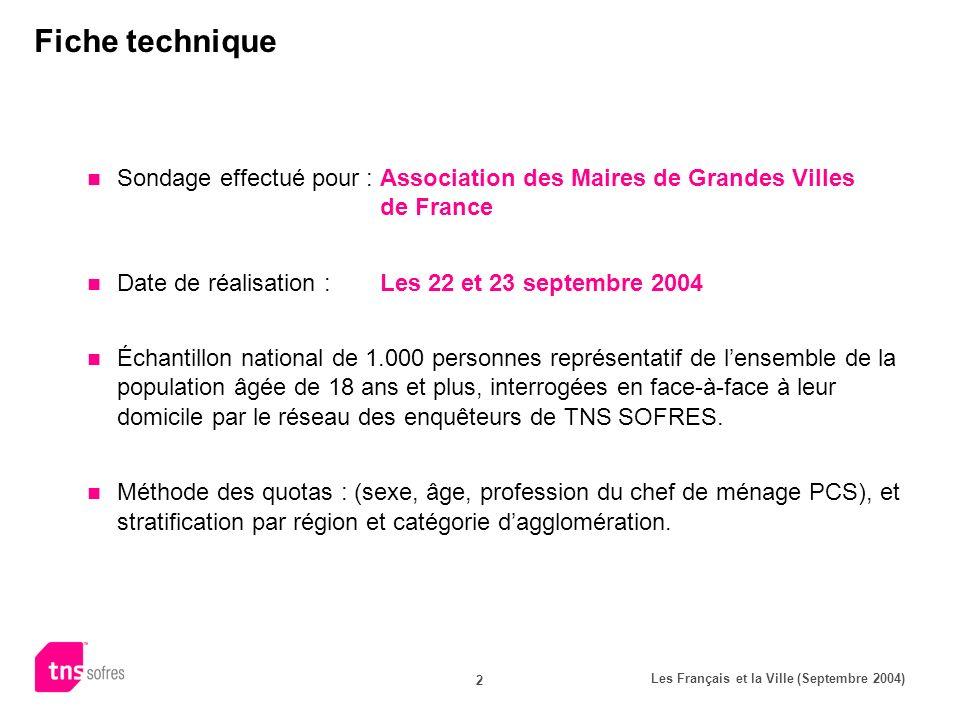 Les Français et la Ville (Septembre 2004) 2 Fiche technique Sondage effectué pour :Association des Maires de Grandes Villes de France Date de réalisat