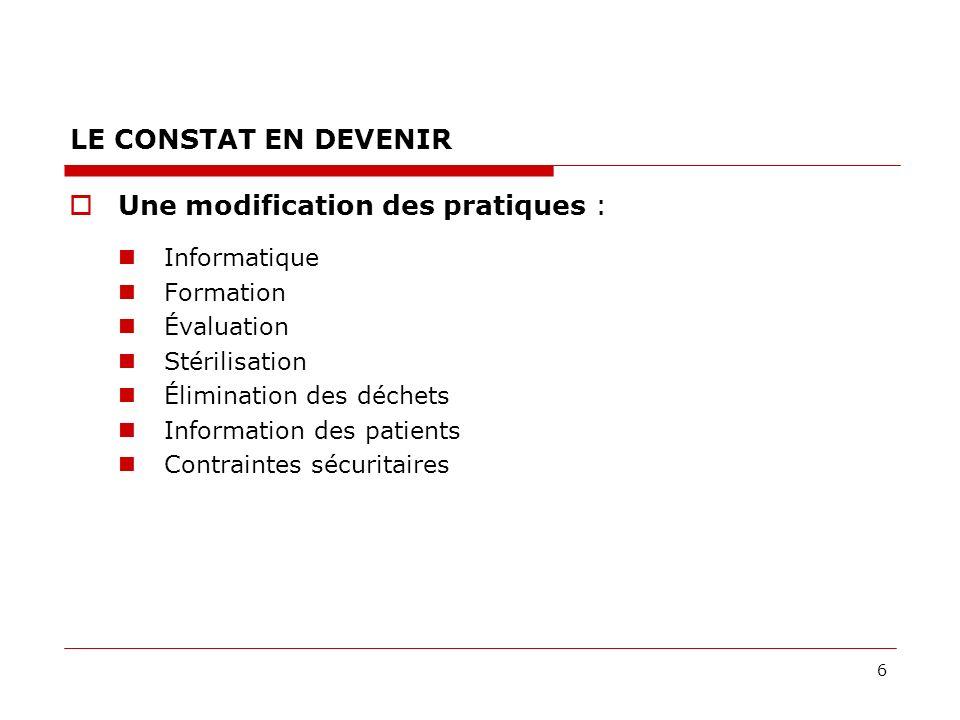 6 LE CONSTAT EN DEVENIR Une modification des pratiques : Informatique Formation Évaluation Stérilisation Élimination des déchets Information des patients Contraintes sécuritaires