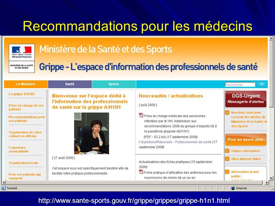 http://www.sante-sports.gouv.fr/grippe/grippes/grippe-h1n1.html Recommandations pour les médecins