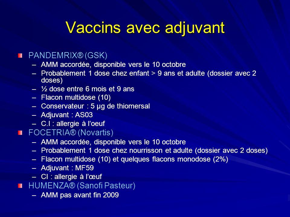 Vaccins avec adjuvant PANDEMRIX® (GSK) –AMM accordée, disponible vers le 10 octobre –Probablement 1 dose chez enfant > 9 ans et adulte (dossier avec 2 doses) –½ dose entre 6 mois et 9 ans –Flacon multidose (10) –Conservateur : 5 µg de thiomersal –Adjuvant : AS03 –C.I : allergie à loeuf FOCETRIA® (Novartis) –AMM accordée, disponible vers le 10 octobre –Probablement 1 dose chez nourrisson et adulte (dossier avec 2 doses) –Flacon multidose (10) et quelques flacons monodose (2%) –Adjuvant : MF59 –CI : allergie à lœuf HUMENZA® (Sanofi Pasteur) –AMM pas avant fin 2009
