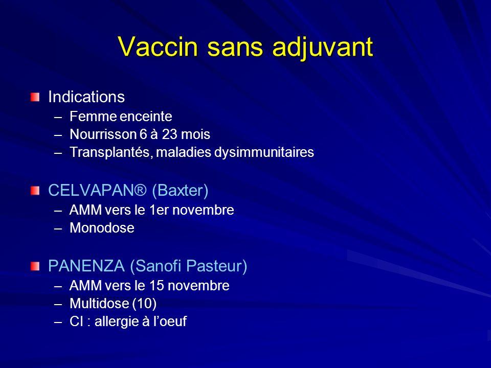 Vaccin sans adjuvant Indications –Femme enceinte –Nourrisson 6 à 23 mois –Transplantés, maladies dysimmunitaires CELVAPAN® (Baxter) –AMM vers le 1er n