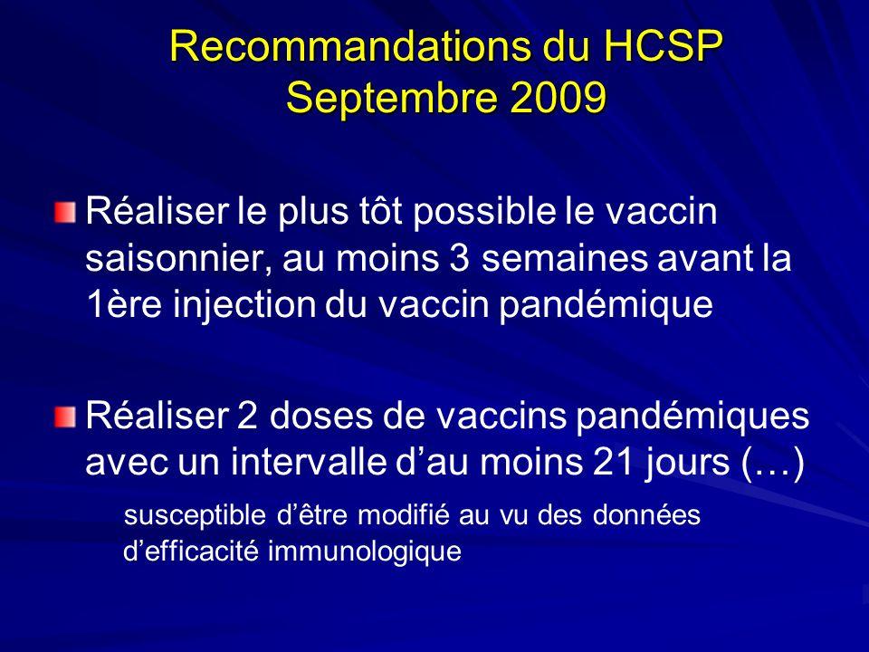 Recommandations du HCSP Septembre 2009 Réaliser le plus tôt possible le vaccin saisonnier, au moins 3 semaines avant la 1ère injection du vaccin pandémique Réaliser 2 doses de vaccins pandémiques avec un intervalle dau moins 21 jours (…) susceptible dêtre modifié au vu des données defficacité immunologique