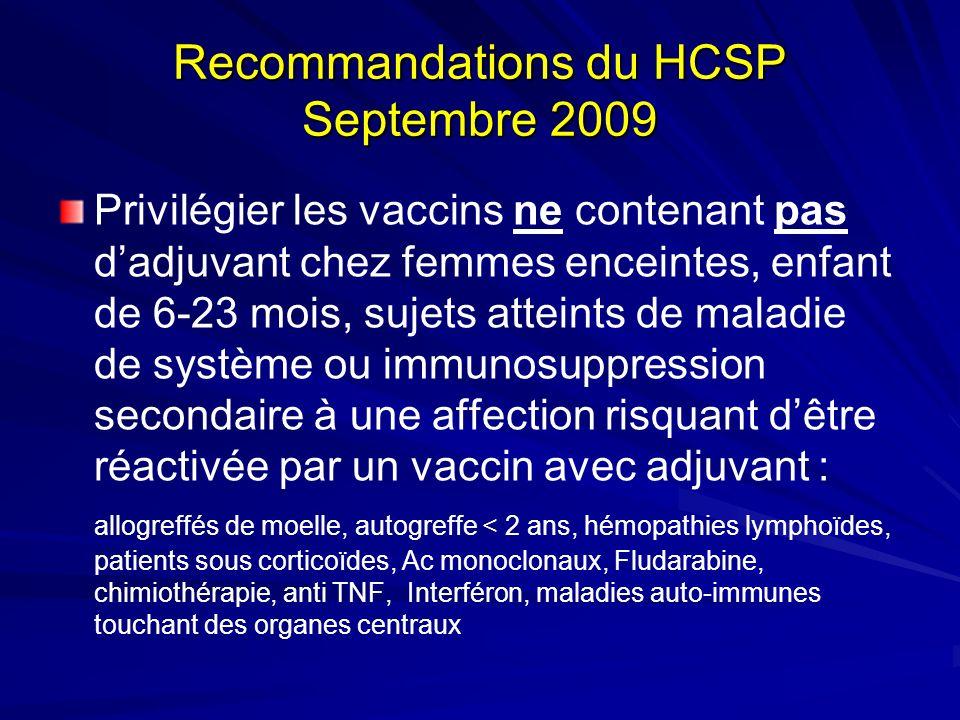 Recommandations du HCSP Septembre 2009 Privilégier les vaccins ne contenant pas dadjuvant chez femmes enceintes, enfant de 6-23 mois, sujets atteints