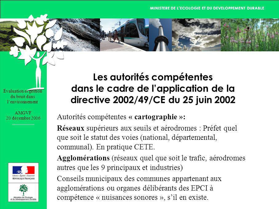 Évaluation et gestion du bruit dans lenvironnement AMGVF 20 décembre 2006 MINISTERE DE LECOLOGIE ET DU DEVELOPPEMENT DURABLE Les autorités compétentes