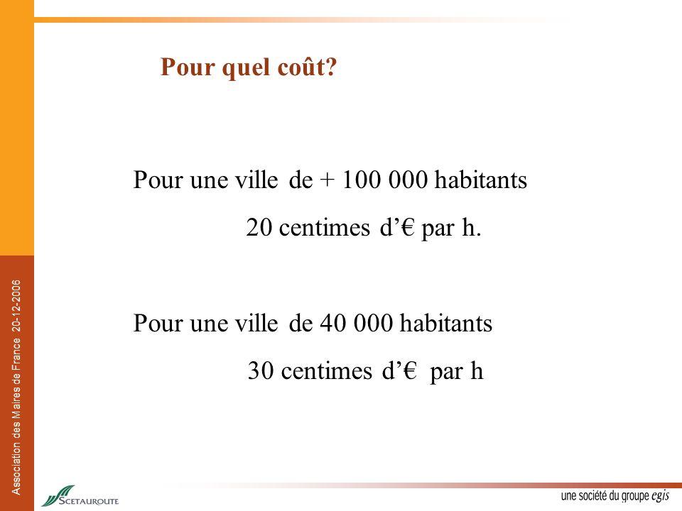 Association des Maires de France 20-12-2006 Pour quel coût? Pour une ville de + 100 000 habitants 20 centimes d par h. Pour une ville de 40 000 habita
