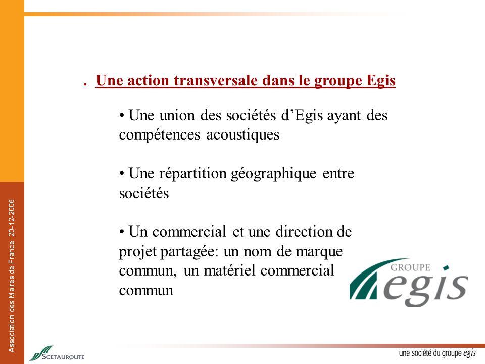 Association des Maires de France 20-12-2006. Une action transversale dans le groupe Egis Une union des sociétés dEgis ayant des compétences acoustique