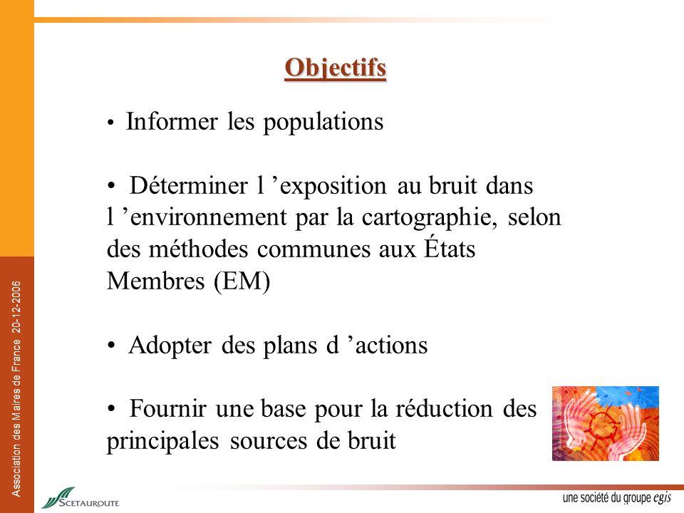 Association des Maires de France 20-12-2006 Objectifs Informer les populations Déterminer l exposition au bruit dans l environnement par la cartograph