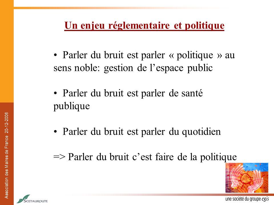 Association des Maires de France 20-12-2006 Un enjeu réglementaire et politique Parler du bruit est parler « politique » au sens noble: gestion de les