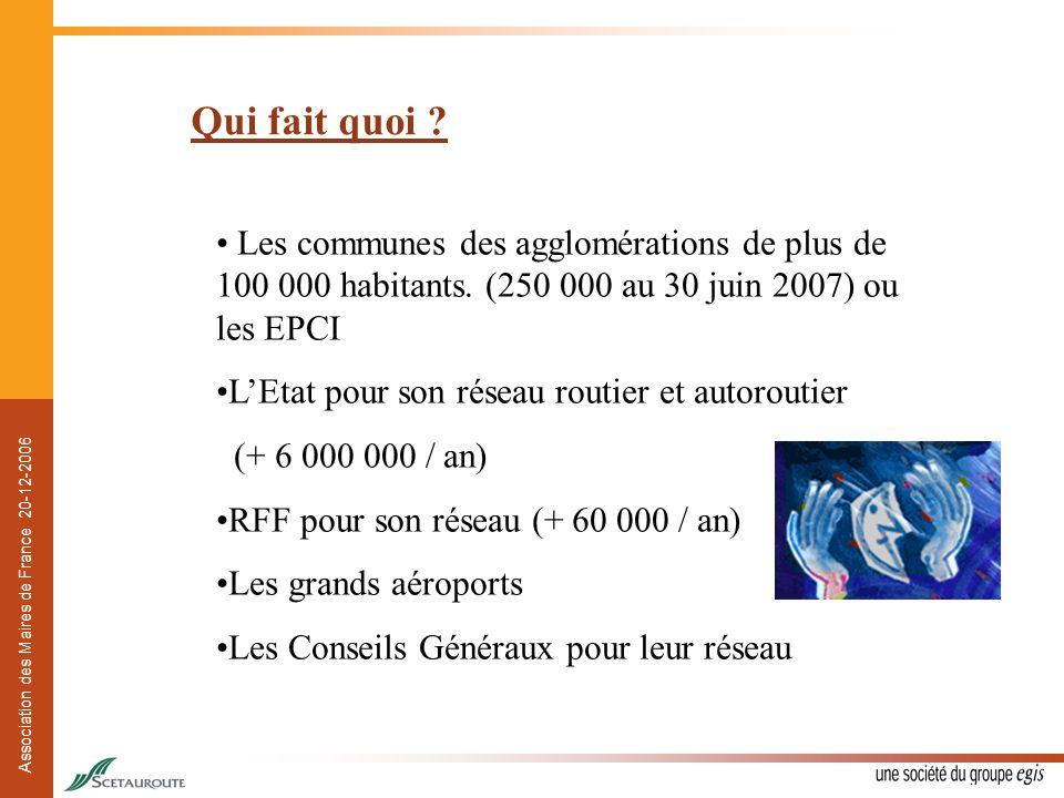 Association des Maires de France 20-12-2006 Qui fait quoi ? Les communes des agglomérations de plus de 100 000 habitants. (250 000 au 30 juin 2007) ou