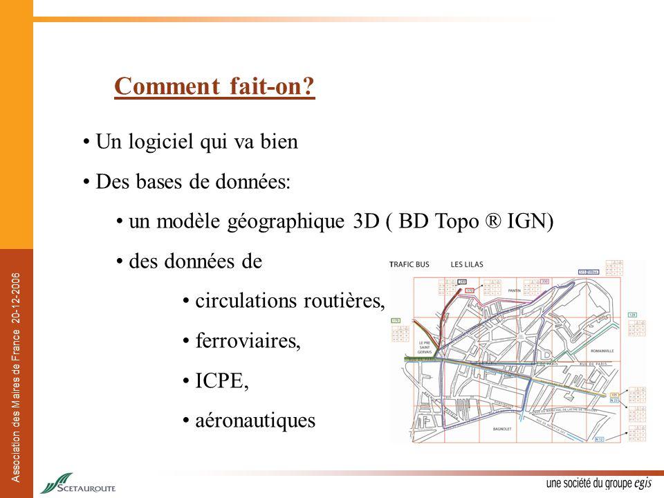 Association des Maires de France 20-12-2006 Comment fait-on? Un logiciel qui va bien Des bases de données: un modèle géographique 3D ( BD Topo ® IGN)