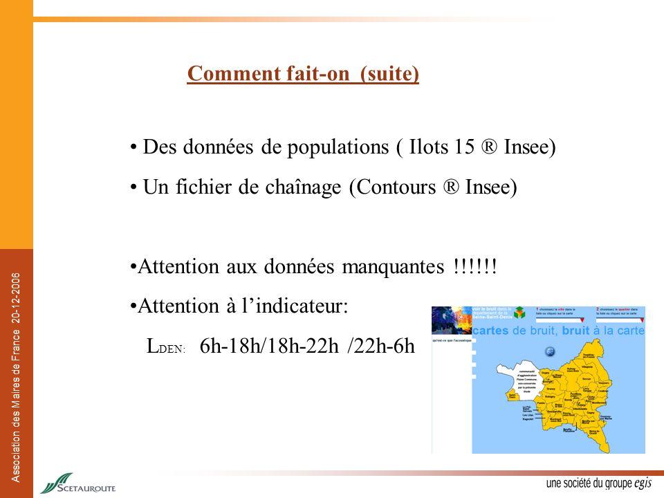 Association des Maires de France 20-12-2006 Comment fait-on (suite) Des données de populations ( Ilots 15 ® Insee) Un fichier de chaînage (Contours ®