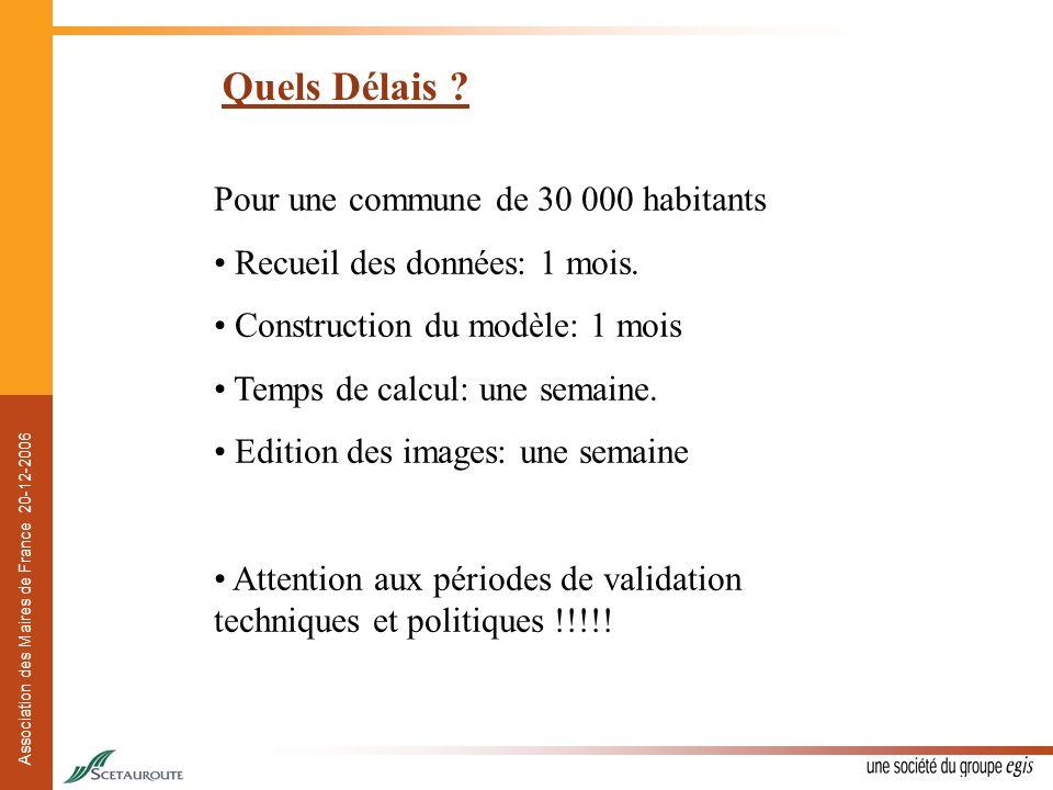 Association des Maires de France 20-12-2006 Quels Délais ? Pour une commune de 30 000 habitants Recueil des données: 1 mois. Construction du modèle: 1