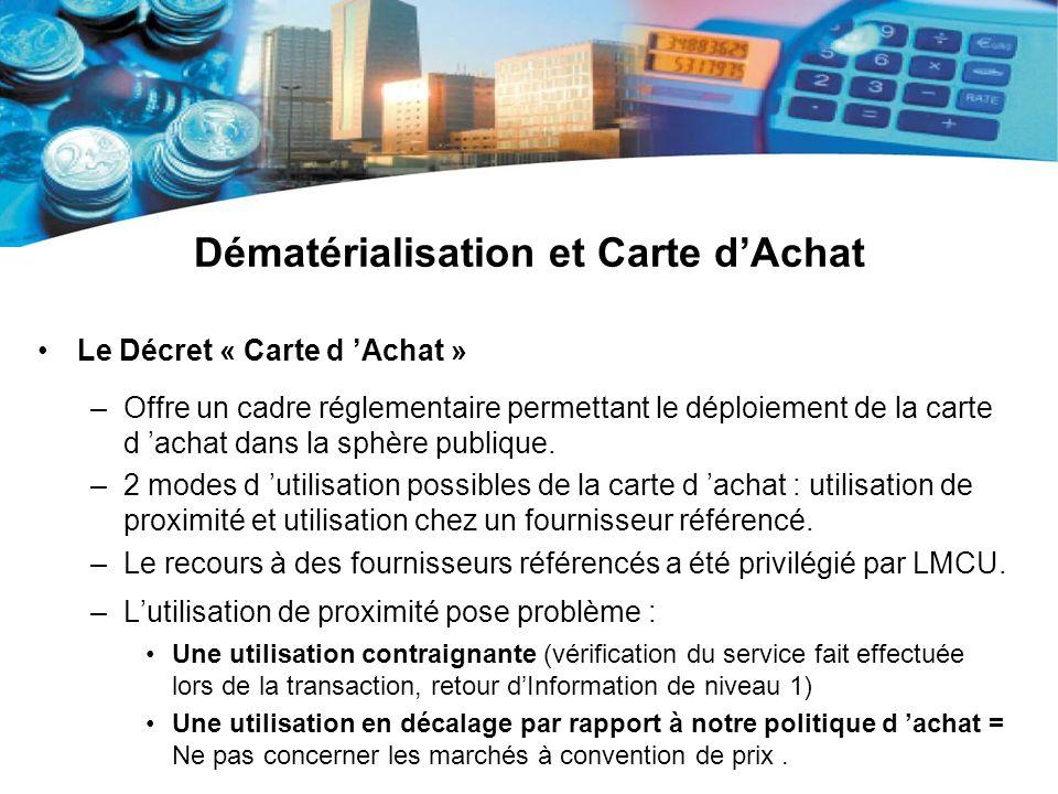 Dématérialisation et Carte dAchat Le Décret « Carte d Achat » –Offre un cadre réglementaire permettant le déploiement de la carte d achat dans la sphè