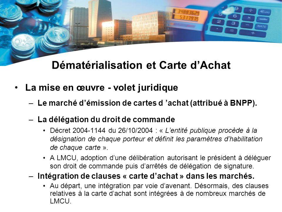 Dématérialisation et Carte dAchat La mise en œuvre - volet juridique –Le marché démission de cartes d achat (attribué à BNPP). –La délégation du droit