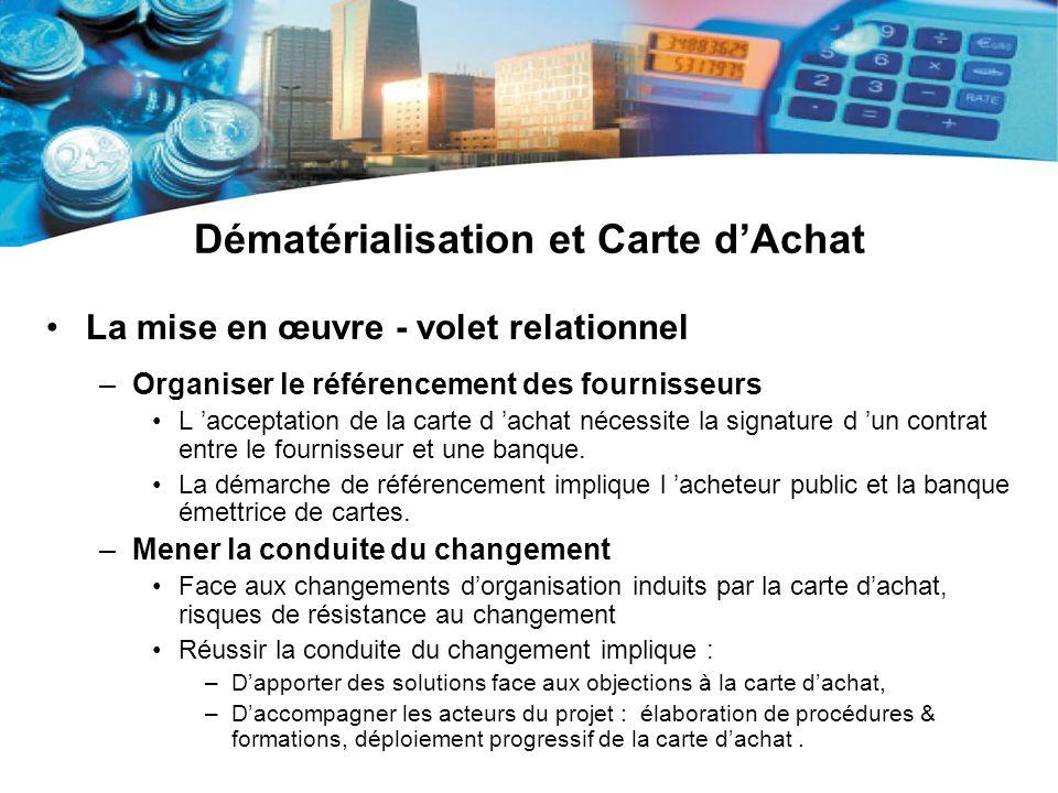 Dématérialisation et Carte dAchat La mise en œuvre - volet relationnel –Organiser le référencement des fournisseurs L acceptation de la carte d achat