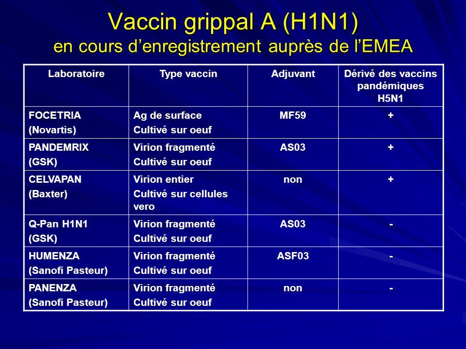 Vaccin grippal A (H1N1) en cours denregistrement auprès de lEMEA LaboratoireType vaccinAdjuvantDérivé des vaccins pandémiques H5N1 FOCETRIA (Novartis)