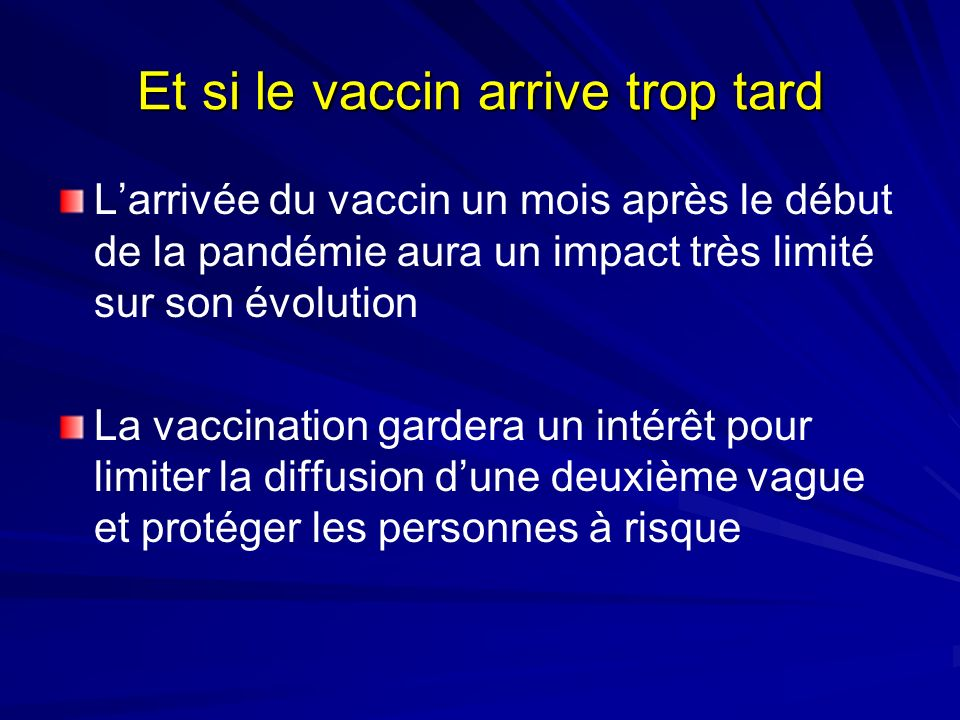 Et si le vaccin arrive trop tard Larrivée du vaccin un mois après le début de la pandémie aura un impact très limité sur son évolution La vaccination