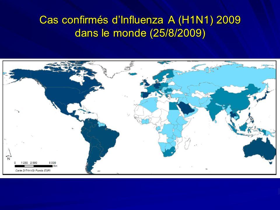 Cas confirmés dInfluenza A (H1N1) 2009 dans le monde (25/8/2009)