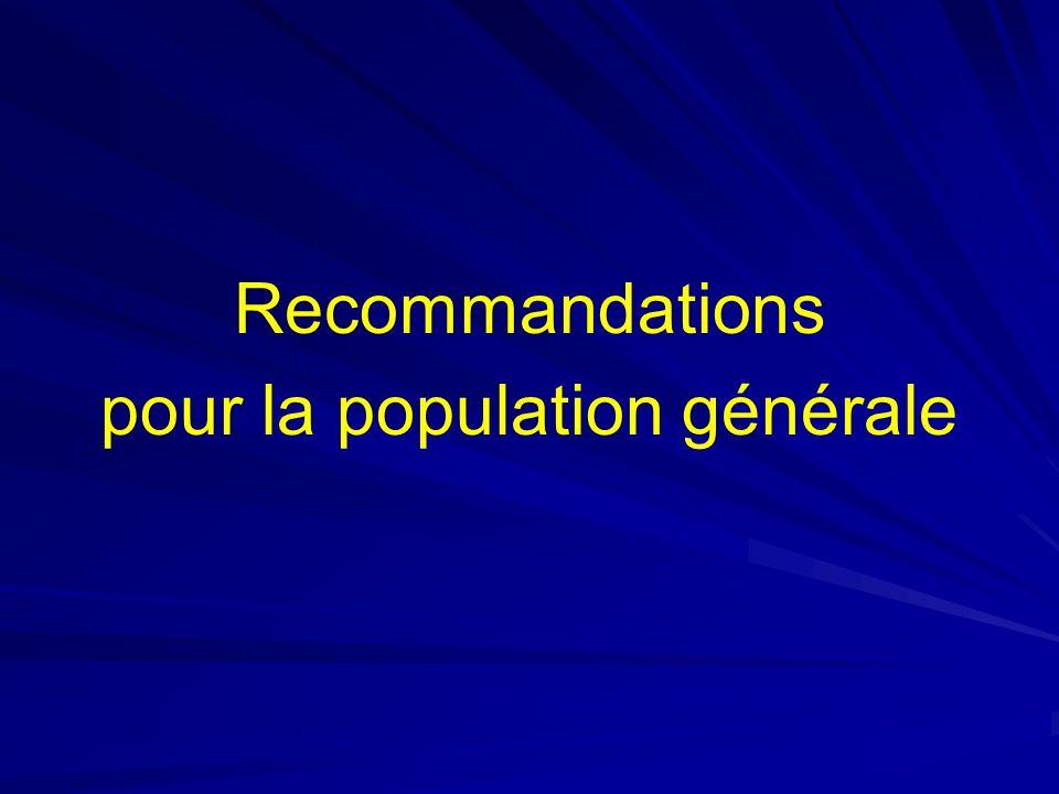 Recommandations pour la population générale