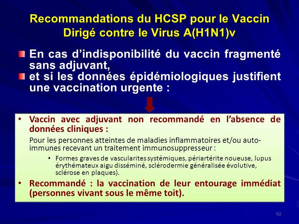 Recommandations du HCSP pour le Vaccin Dirigé contre le Virus A(H1N1)v En cas dindisponibilité du vaccin fragmenté sans adjuvant, et si les données épidémiologiques justifient une vaccination urgente : 62 Vaccin avec adjuvant non recommandé en labsence de données cliniques : Pour les personnes atteintes de maladies inflammatoires et/ou auto- immunes recevant un traitement immunosuppresseur : Formes graves de vascularites systémiques, périartérite noueuse, lupus érythémateux aigu disséminé, sclérodermie généralisée évolutive, sclérose en plaques).
