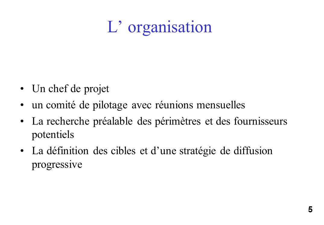 5 L organisation Un chef de projet un comité de pilotage avec réunions mensuelles La recherche préalable des périmètres et des fournisseurs potentiels La définition des cibles et dune stratégie de diffusion progressive