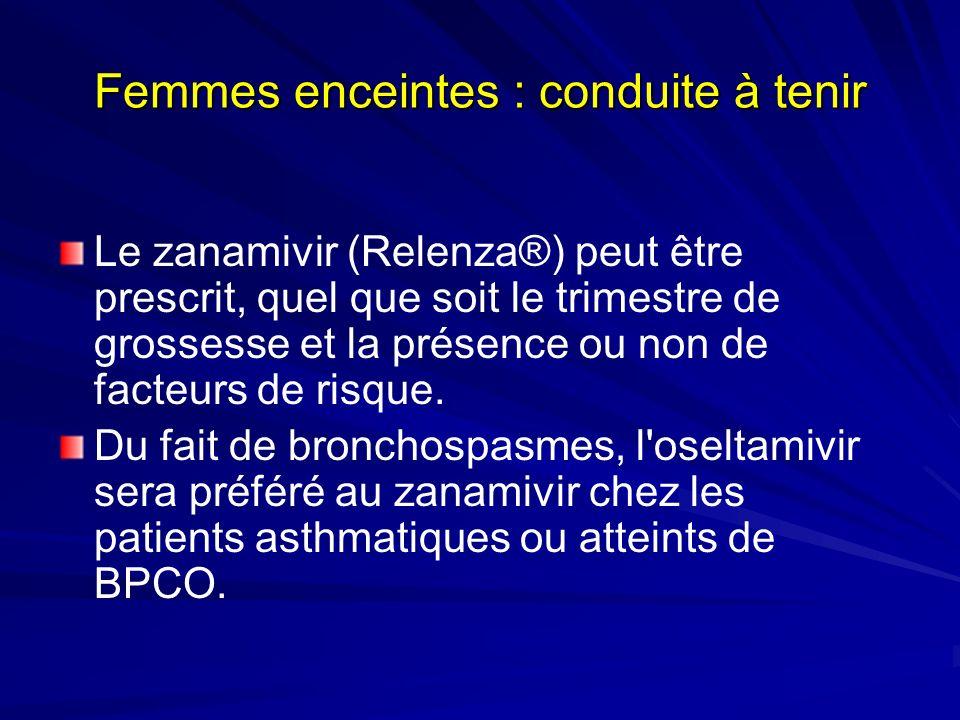 Femmes enceintes : conduite à tenir Le zanamivir (Relenza®) peut être prescrit, quel que soit le trimestre de grossesse et la présence ou non de facteurs de risque.