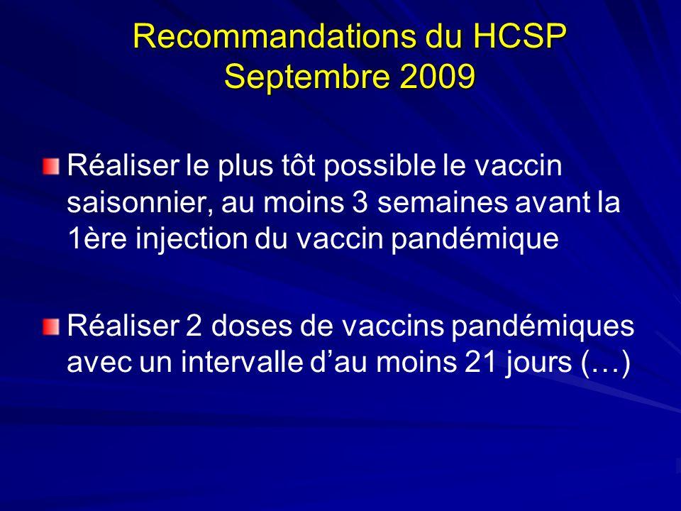 Recommandations du HCSP Septembre 2009 Réaliser le plus tôt possible le vaccin saisonnier, au moins 3 semaines avant la 1ère injection du vaccin pandémique Réaliser 2 doses de vaccins pandémiques avec un intervalle dau moins 21 jours (…)