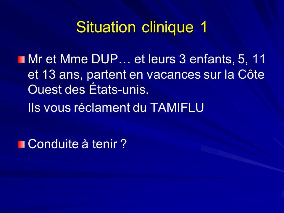 Situation clinique 1 Mr et Mme DUP… et leurs 3 enfants, 5, 11 et 13 ans, partent en vacances sur la Côte Ouest des États-unis. Ils vous réclament du T