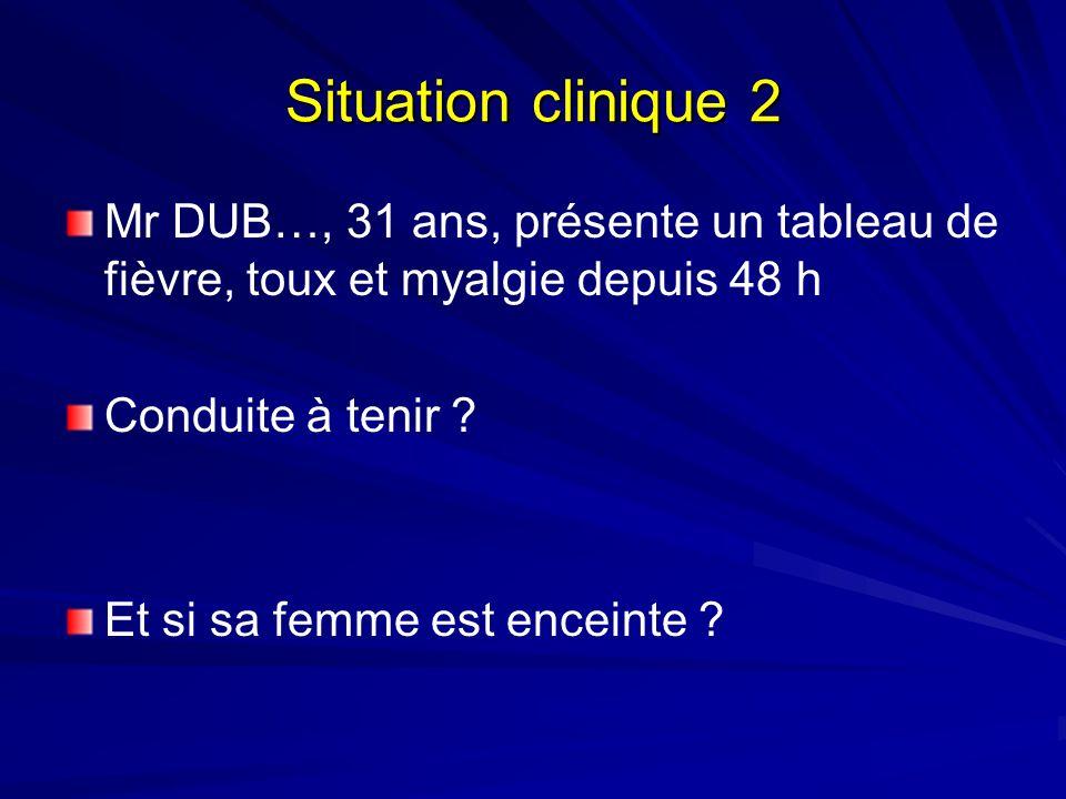 Situation clinique 2 Mr DUB…, 31 ans, présente un tableau de fièvre, toux et myalgie depuis 48 h Conduite à tenir ? Et si sa femme est enceinte ?